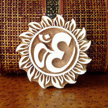 Large Om Stamp: Hand Carved Wood Printing Block, Sun or Flower Border Indian Stamp, From India
