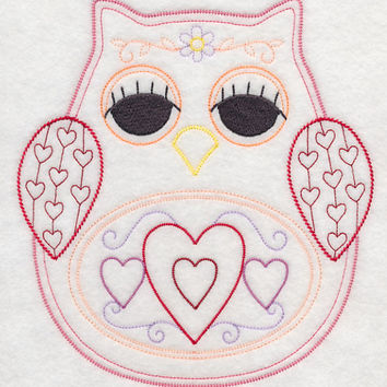Owl with Hearts Vintage Styled EMBROIDERED Women's Apron Great Mother's Day Gift