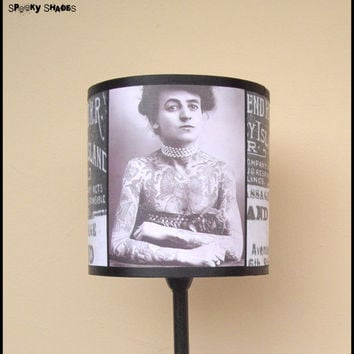 Vintage Tattoos Lampshade Lamp Shade - tattooed lady, rockabilly decor, tattoo art, black and white, vintage picture, antique, SPOOKY SHADES
