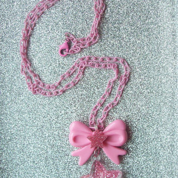 Pink Magic - Pastel Pink Bow and Glitter Star Charm Necklace
