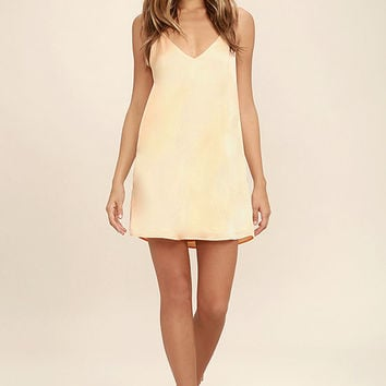 Dance 'til Dawn Peach Satin Slip Dress