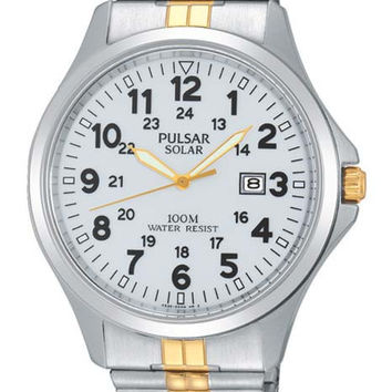 Pulsar Mens Traditional Solar Watch - White Dial - Two Tone Stainless Expansion