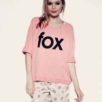 FOX TIME- OVERSIZED SWEATER at Wildfox Couture in  CWHTE, PETL