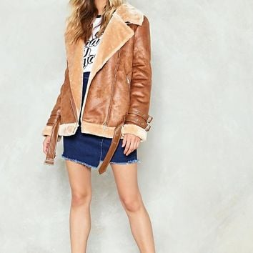 What Are You Waiting Fur Aviator Jacket