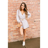 Flower Scent Long Sleeve Surplice Romper (Lilac)