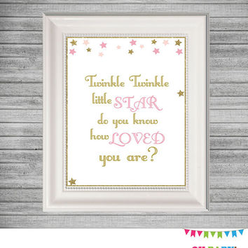 Printable Wall Art, Twinkle Twinkle Little Star Do You Know How Loved You Are, Baby Girl Nursery, Baby Wall Decor, Pink and Gold Stars STPG