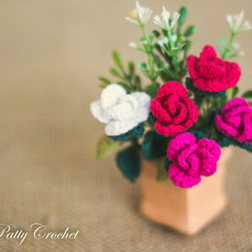 Mini Stem Croceht Rose Pattern and Instructions - Flower Decoration and Mini Bouquets DIY - Easy Crochet Flower Pattern - Instant Download