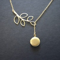 Lariat locket and gold leaf necklace gold locket by DelicacyJ