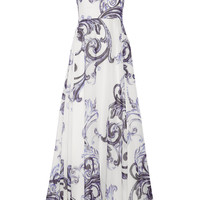 Lela Rose - Printed cotton-gauze and silk gown