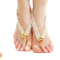 White Crochet Barefoot sandals, Barefoot Sandles, Beaded, Sexy feet, Nude shoes, Foot jewelry, Naked shoes, Fantasy Jewelry, Foot thong