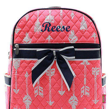 Monogrammed Coral White and Navy Arrow Quilted Backpack  Personalized Quilted Backpack