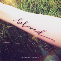 2pcs Beloved hand-script calligraphy lettering - InknArt Temporary Tattoo -  set wrist quote tattoo body sticker fake tattoo wedding small