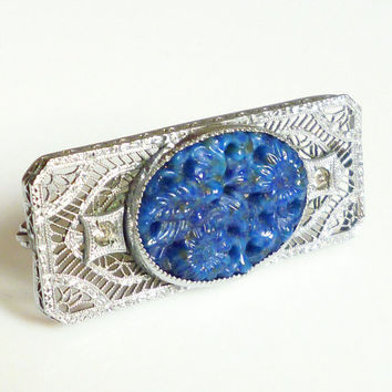 Art Deco Brooch Silver Filigree Carved Lapis Glass Rhinestone Antique Jewelry