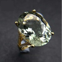 Chunky Natural 13ct Green Amethyst Gemstone Ring