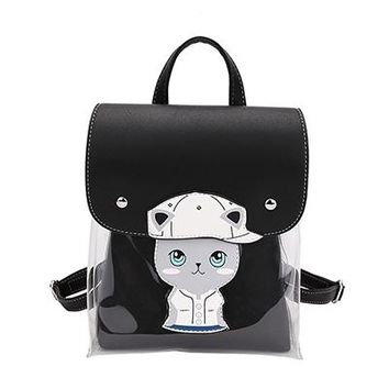 Clear Backpacks popular Cute Cat Jelly bag Clear Women Backpack Cartoon School Bag For Teen Girls backpack PU leather Travel Bag Mochila Feminina AT_62_4