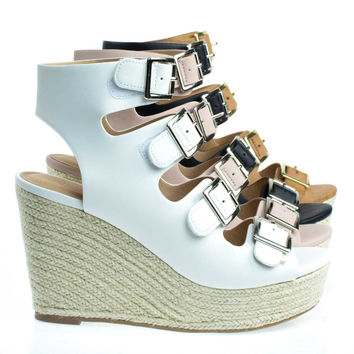 Hamza White By City Classified, Gladiator Sandal On Espadrille Platform Wedge Sandal,  Open Toe Shoe