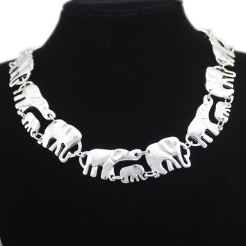 African Elephant Baby Link Hindu Ganesh Chain Collar Choker Colar Statement Chain Necklace Anime Men Boho Jewelry Gold Silver