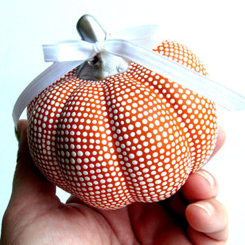 Small Hand painted ceramic pumpkin