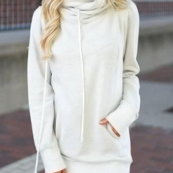 Fashion White Funnel Neck Long Sleeve Pocket Hoodie