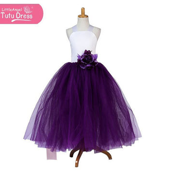 Beautiful Handmade White and Purple Princess Puffy Dress - Floor Length with Flower - Age 5 6 7 8 9