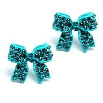 Amazon.com: Fashion Crystal Pave Bow Ribbon Stud Earrings Teal: Jewelry