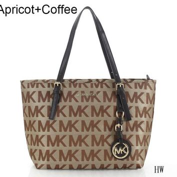 LV Fashion Casual Women Shopping Bag Leather Tote Handbag Satchel Bag Apricot+Coffee(canvas) G-MYJSY-BB
