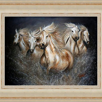 Wild Horses in Sandstone Cape Cod / Vintage Frame - FREE US SHIPPING - The Symphony by Teshia