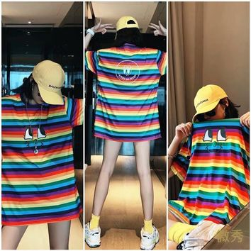HCXX 19July 724 Valentino Fashion explosions smiley print rainbow stripes large version T-shirt one size