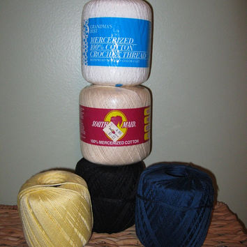 Vintage Cotton Crochet Thread Lot / Vintage Yarn / Crochet Yarn