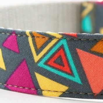 Neon Triangles Dog Collar by SillyBuddy on Etsy