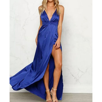 Deep V-Neck Crossback Split Strappy Long Prom Dress