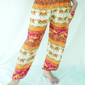 White Pink indian Elephant Comfy funky yoga pants harem pants art design one size fits all elastic waist ankle for women