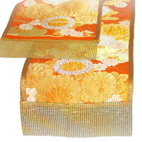 Japanese sash table runner – Vintage Kimono silk dining runner – Orange flower sequin table decor – Woven Metallic embroidery Obi table top