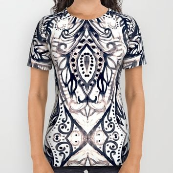 Monochrome Damask Jungle All Over Print Shirt by Tangerine-Tane | Society6