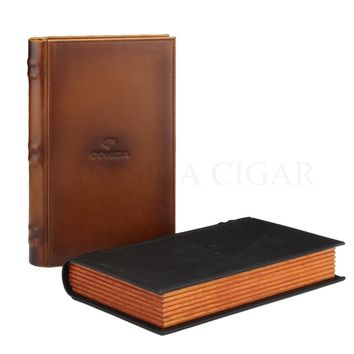 COHIBA Cedar Wood&Leather Travel Cigar Case Box Portable Tobacco Humidor Holder For 5 Tubes With Humidifier Hygrometer Cutter