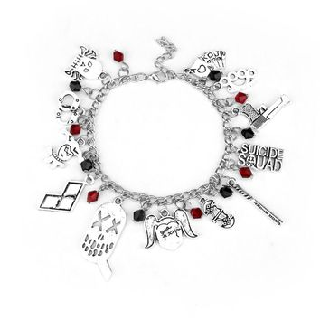 New 2 Style DC Comics Suicide Squad Harley Quinn Charm Bracelet Silver Plated Bat Baseball Wristbands For Best Friends Gift