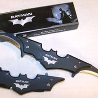 BLACK BATMAN TWO BLADED KNIFE the dark knight