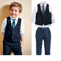 baby boy clothing set summer style kids Suits shirts +Waistcoat + Necktie+ Pants 4pcs children boys clothing suit QY-325