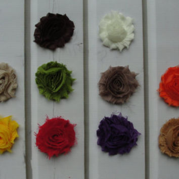 SALE - Set of 10 FALL Shabby Chic Flower Hair Clips