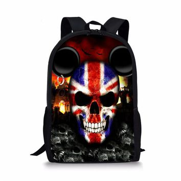 Cool Backpack school FORUDESIGNS Cool Grade Boys Punk Skull Backpack Trendy Fashion UK USA Flag Bagpack for Kids Unique Teenager School Bag Colorful AT_52_3