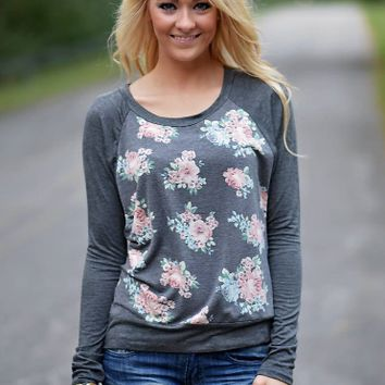 Gray Floral Print Sweater