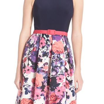 Eliza J Jersey Floral Faille Fit & Flare Dress | Nordstrom