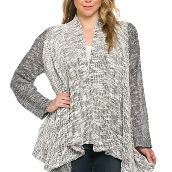 Slub Sweater Open Cardigan Plus Size Black