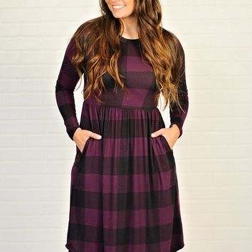 * Ganeen Checkered Print Dress With Pockets : Purple