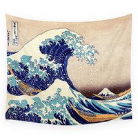 Society6 Katsushika Hokusai The Great Wave Off Ka Wall Tapestry