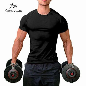 Seven Joe men workout fitness bodybuilding t shirt exercise clothing men cotton tanks shirts crossfit tee tops