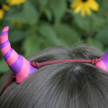 Cosplay renaissance horns handcrafted in pink and purple polymer clay, perfect for renfest, dress up or Halloween, LARP horns, Cheshire cat
