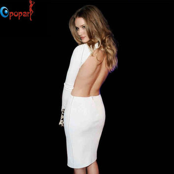 Women sexy high waist backless bandage dress open back full sleeve celebrity party bodycon stretch HL mini dress drop ship HL468