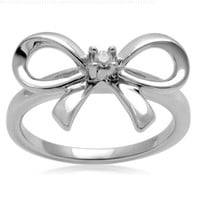 Sterling Silver Diamond Accent Bow Ring, Size 7