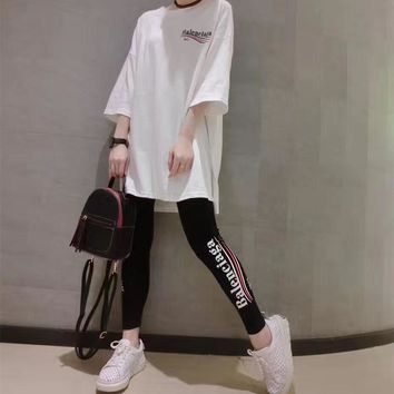 balenciaga women casual letter wave stripe print middle sleeve leggings trousers set two piece sportswear 2